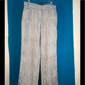 Blue/White Striped 100% Linen Pants M